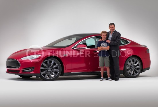 Rodric David with Red Tesla P90D