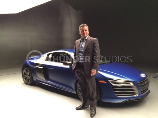Rodric David and blue Audi R8