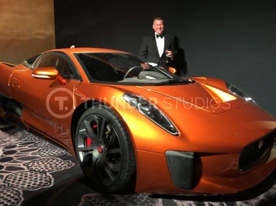 Rodric David with James Bond Jaguar at the BAFTA awards