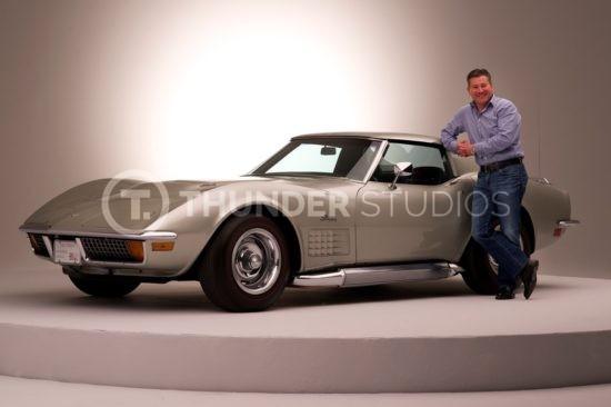 Rodric David with 1972 sliver Corvette Stingray