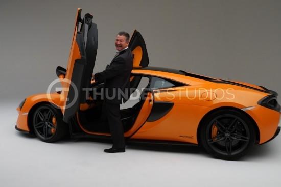 Rodric David orange McLaren doors open