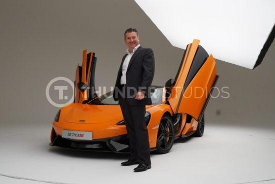 Rodric David with orange McLaren