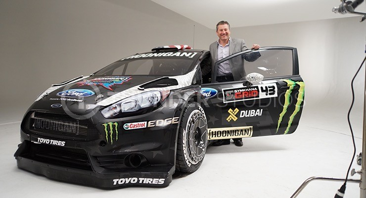 Rodric David with Ken Block's 650hp AWD Ford Fiesta RX43 before the Dubai shoot for Gymkhana 8