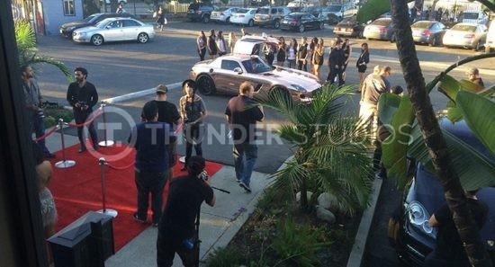 Tyga's Mercedes Benz SLS at Thunder Studios before trying Rodric David's Tesla