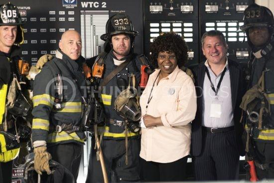 Rodric David Whoopi Goldberg Firemen on set