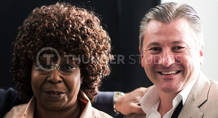 Whoopi Goldberg and Rodric David close two-shot on the set of Thunder Studios' film Nine Eleven